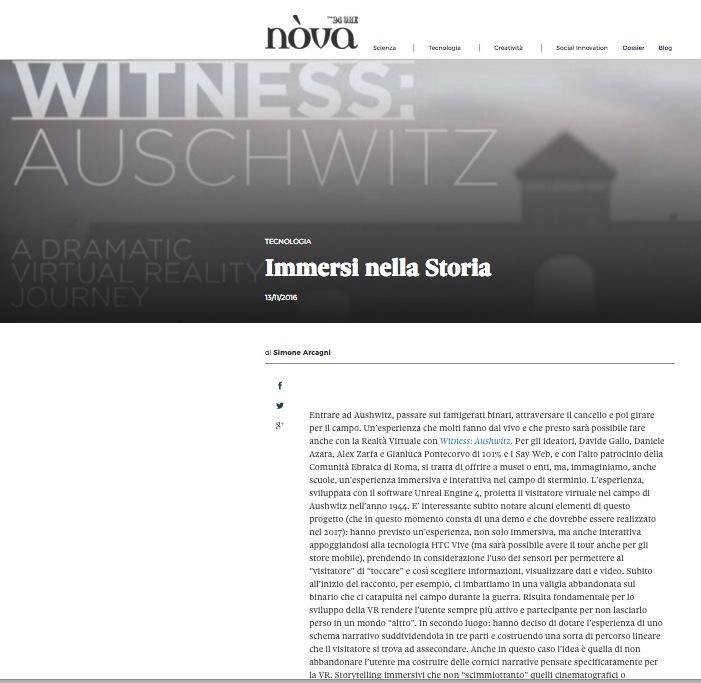 nova Sole24Ore witness auschwitz shoah
